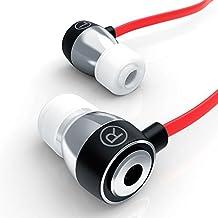 LIAM & DAAN - Auriculares inEar Alu Ultimate 640 Flat Style | diseño reducción de ruido (passiv) | EP Power Bass | nuevo modelo 2016 | sistema de transporte | cable plano rojo