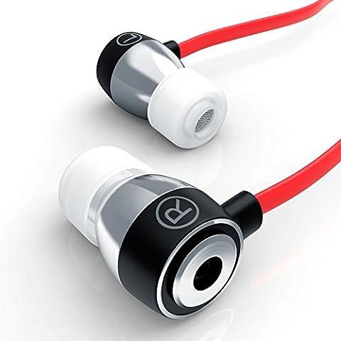 LIAM & DAAN - Auriculares inEar Alu Ultimate 640 Flat Style | diseño reducción de ruido (passiv) | EP Power Bass | nuevo modelo 2016 | sistema de transporte | cable plano