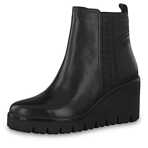 Tamaris Damen Stiefeletten 25430-23, Frauen Keilstiefeletten, Stiefel Boots halbstiefel Wedge-Bootie hoch Damen Frauen weibliche,Black,42 EU / 8 UK