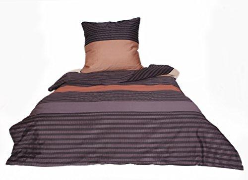 MyHoppi Mako-Satin Bettwäsche   100% Baumwolle/Baumwollsatin   135x200 cm + Kopfkissenbezug (Streifen-Lila/Braun 80x80cm, 135 x 200 cm)