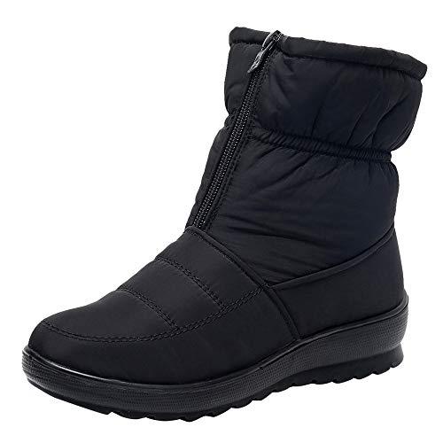Bottes de Neige,Subfamily Mode Boots Hiver Chaussures Plates Bottines Fermeture Éclair Boots Intérieur Fourrée Chaude Confortable Zippé Bottines de Pluie Imperméable avec Fourrure à Talons Plats