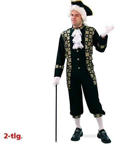 KarnevalsTeufel Ludwig Männerkostüm 2-TLG. bestehend aus Hemd und Hose in schwarz mit goldfarbenen Verzierungen und weißem Rüschenhighlight extravagant Barock Rokoko Theater Auftritt (54) (Schwarzen Weißen Verzierungen Und)