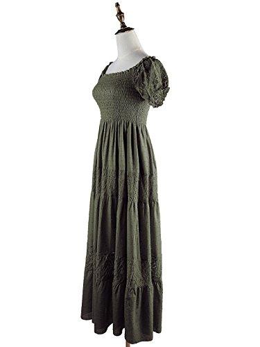 Anna-Kaci Frauen Boho Stretch Spitze Rüsche kurzarm Geschmückt Maxikleid lange Kleid Olivegrün