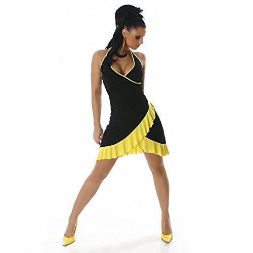 Damen Mini Kleid Sexy Sommer Damen Kleid mit Halskrause eine Größe UK 8, 10, 12, 14–Eine Größe EU 36, 38, 40, 42 - Black - yellow