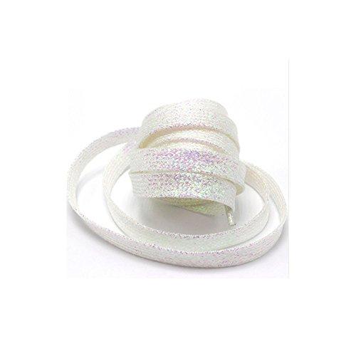 2.17 Zoll Flache Schuhe Turnschuhe Herrenschuhe Damenschuhe Metall Spitze Dekoration Bling Schnürsenkel(weiß) ()