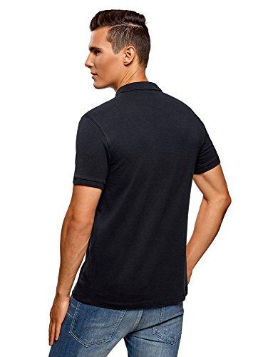 oodji Ultra Herren Tagless Pique-Poloshirt (2er-Pack) Blau (7901N)