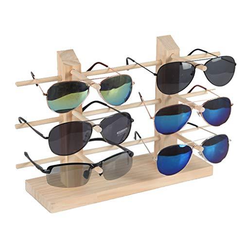 Timlatte Massivholz Sunglass Rackrahmen 2 Reihen Glasschmuck Anzeigen Vitrine Stand-Halter-Organisator