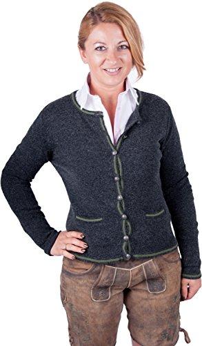 Almwerk Damen Trachten Strick Jacke Diana in grün, blau, grau schwarz und fuchsia, Größe Damen:4XL - Größe 48;Farbe:Anthrazit/Grün