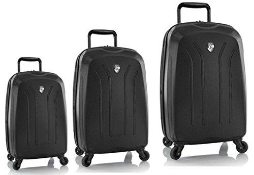 Sets de Bagages, valises - Première Classe Valise Rigide Set 3 pièces - Heys Crown Lightweight Pro Noire Bagages à Main + Trolley avec 4 Roues Mèdias + Trolley avec 4 Roues Grand