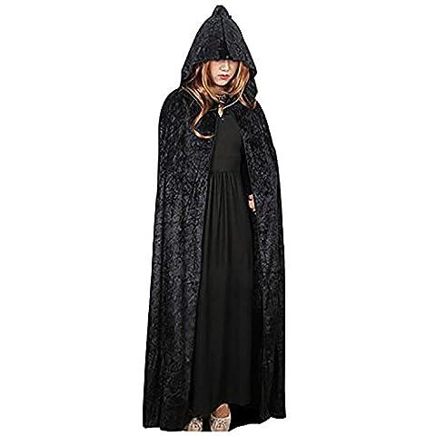 En Velours à Capuche Cape Halloween Costume médiéval Païen robe sorcière Wicca Vampire Cape longue - noir - taille unique