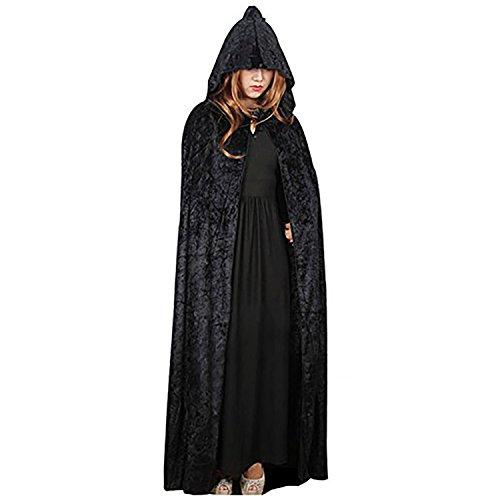 (Kapuzen Samt Umhang Halloween-Kostüm Mittelalter Pagan Hexe Kleid Wicca Vampir lang Cape Gr. Einheitsgröße, schwarz)