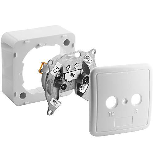 Universal Antennen-Dose Durchgangsdose für TV und Radio mit Rahmen und Abdeckung 75Ohm / 1 Koax Stecker männlich und 1 Koax Buchse Kupplung weiblich / geeignet für 3D SD HD FullHD UHD 4K / Weiss