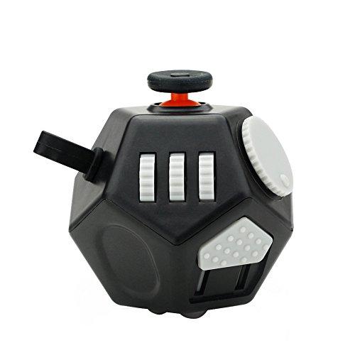 Foto de Fidget cubo 2 juguetes antiestrés actualizados 12 lados gadgets dodecaedro ayudan a reducir el estrés, la ansiedad, el nerviosismo o el tiempo de matar a los niños adultos con TDAH Autismo Negro
