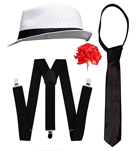 Gangster-Kostüm-Set, für Herren, elegant, Kleid-Zubehör, Deluxe-Kit, Schwarz oder Weiß, Nadelstreifen, Filzhut + weiße Hosenträger + weiße Krawatte, Al (Kostüm 1920 Ideen Gangster)