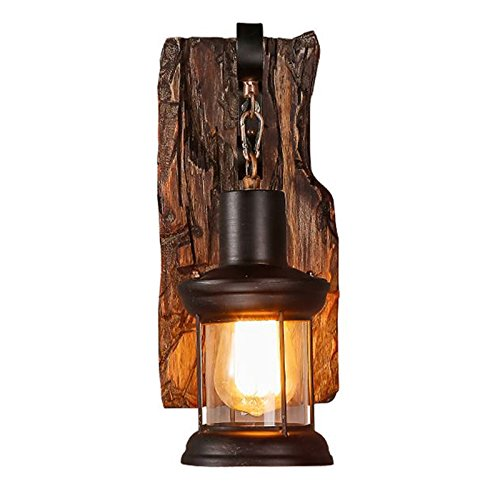 Gweat Vintage Industrie Wandleuchten Loft Holz Retro für Restaurant, Gang, Korridor, Eingang, Bar, Cafe, Schlafzimmer Nachttisch Wandlampe Glasschirm (Farbe : B)