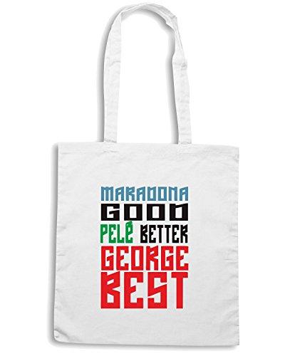 T-Shirtshock - Borsa Shopping WC0495 Maradona good Pele better George BEST Bianco