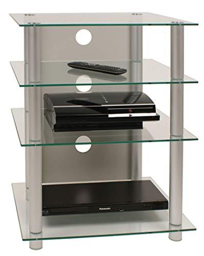 "VCM Hifi Möbel Rack Phono Turm Medienrack Medienmöbel Regal Tisch Aluminium Glas Silber / Klarglas Farbwahl \""Bilus\"""