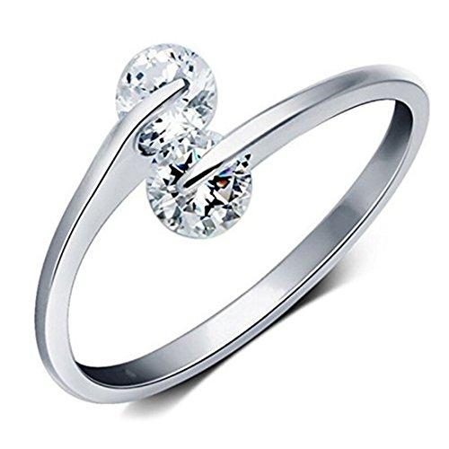 Premium Platinum Plated Trendy Elegant Austrian Crystal Adjustable Ring for Women