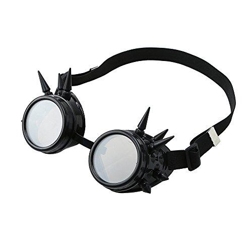 Zolimx Unisex Sonnenbrille, Weinlese-viktorianisches Steampunk-Schutzbrillen-Glas-schweißendes Cyber Punk Gothic Cosplay (C)