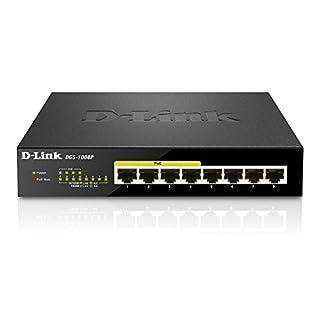 D-Link DGS-1008P 8-Port Layer2 Gigabit Switch (8 Anschlüsse mit 10/100/1000 Mbit/s, 4 davon mit PoE-Unterstützung) schwarz