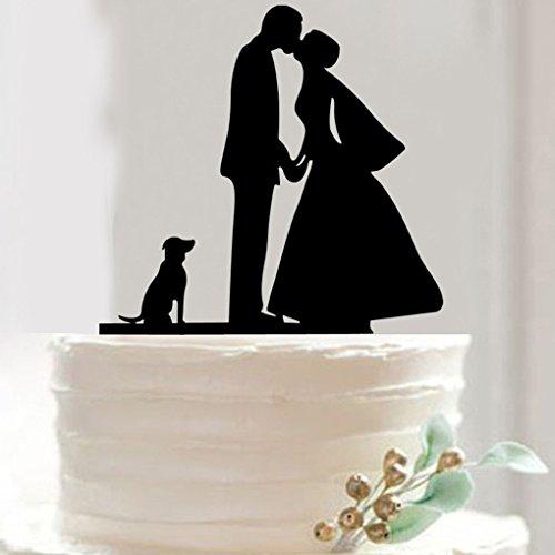 QHGstore Hunde Mr & Mrs Wedding Cake Toppers Personalisierte Hochzeit Kuchen