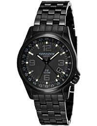 Torgoen T05207 - Reloj analógico de cuarzo para hombre con correa de acero inoxidable, color negro