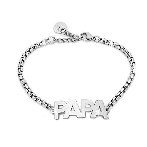 Beloved ❤️ bracciale da donna o unisex, braccialetto in acciaio con frasi, parole - ciondolo pendente - misura regolabile - color argento - tema famiglia (papa')