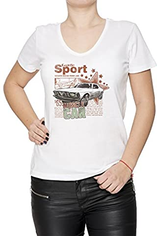 Gazette Sport Femme T-Shirt V-Col Blanc Manches Courtes Taille XL Women's V-Neck White X-Large Size XL