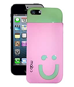 Fuson Premium Smily Silicon Back Case Cover For Apple Iphone 5G / 5S / 5C LtPinkGreen Colour