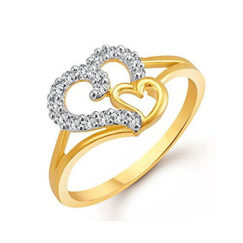 Meenaz Valentine Heart Gold & Rhodium Plated American Diamond Ring