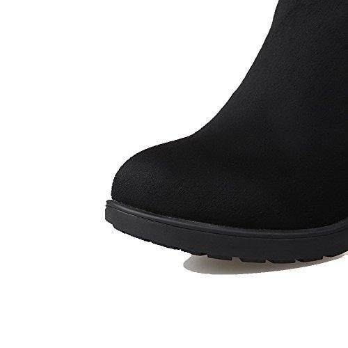 AgooLar Damen Rein Mittler Absatz Rund Zehe Reißverschluss Stiefel mit Metallisch Schwarz