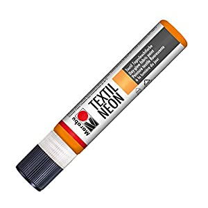 Marabu 18080009324 Neon Liner - Pintura Textil (Base de Agua, Resistente a la Saliva, Tacto Suave, 25 ml), Color Naranja