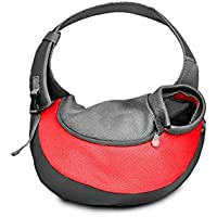 Minkoll Pet Sling Bag Hombro, Cómodo Bolsa Malla Travel Carry Tote Bolso Puppy Perro Gato (S, Rojo)