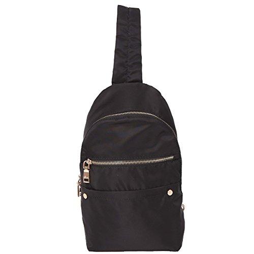 ZOCAI Petit sac à dos en tissu en nylon unisexe sac à dos K15647 Noir
