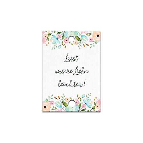50 Schilder für Knicklichter Lasst unsere Liebe leuchten Weiße Hochzeit