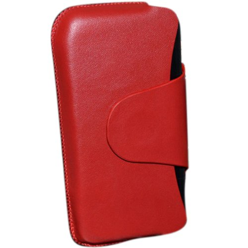 Case Sacoche ordinaire Grain Transversalement Prise en cuir pour iPhone 4 rouge