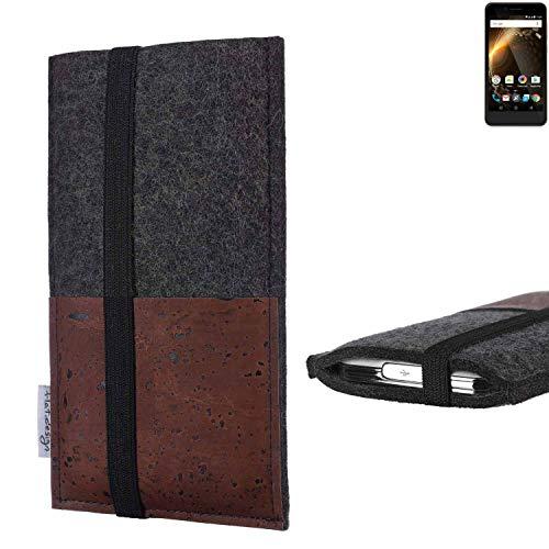 flat.design Handy Hülle Sintra für Allview P6 Energy Mini Handytasche Filz Tasche Schutz Kartenfach Case braun Kork