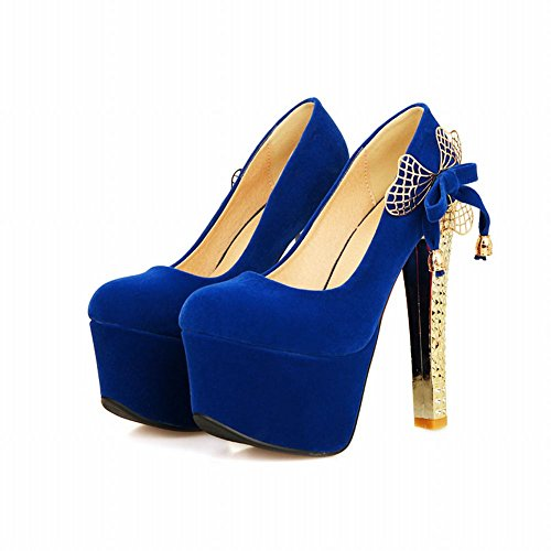 Mee Shoes Damen sexy Plateau Schleife high heels Pumps Blau