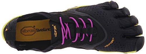 Vibram Five Fingers V-Run, Chaussures de Running Compétition Femme, Bleu Noir (Black/yellow/purple)