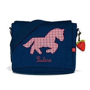 Kindergartentasche & Kindergartenrucksack in einem: Pferd/Pony für Mädchen (mit Namen) in blau