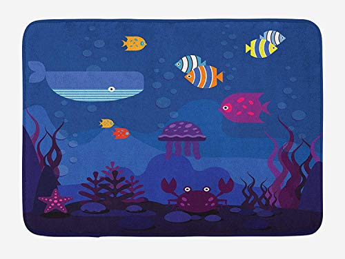 KLYDH Cartoon Bath Mat, Underwater World Fish in Aquarium and Whale Crabs Jellyfish Bubbles Coral, Plush Bathroom Decor Mat with Non Slip Backing, Blue and Multicolor,Size:15.7X23.6 inches,40cmX60cm