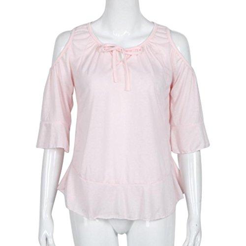 Ularma Damen Modische Bluse Baumwolle Schulterfrei Rund-Ausschnitt Tops Trompetenärmel T-Shirt Rosa
