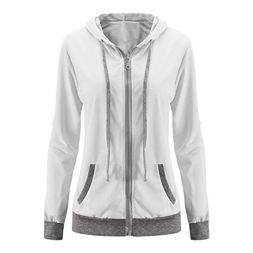 Stretch-zip-jacke (Petalum Damen Sweatjacke Herbst Frühling Langarm Beiläufig Taschen Kapuzen Zip Hoodie Kapuzenpullover Stretch Slim Fit Outwear Sweatshirt Jacke)