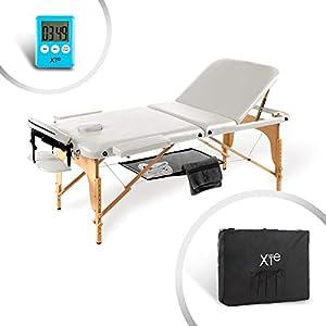 SOLO X TE Massageliege Massagetisch Klappbar Massagebett mit 3 Zonen höhenverstellbaren HOLZ-Füßen und Premium-PVC-Leder Einfache Installation mit Tragetasche Schwarz