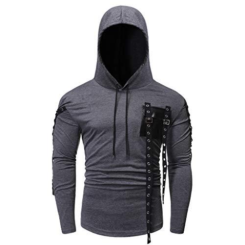 DNOQN Pullover Herren Sale Sweatshirt Günstig Herbst Winter Langarm Knopf Tasche Kapuzen Sweatshirt Pullover Mantel Top Grau XXL