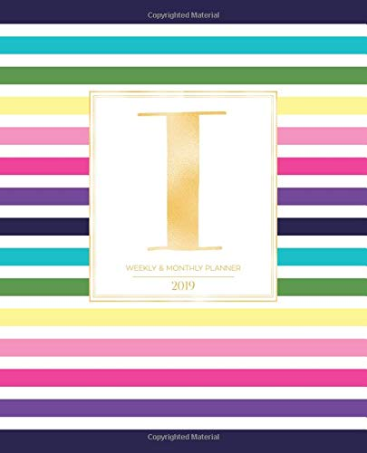 """Weekly & Monthly Planner 2019: Striped Colors with Gold Monogram Letter I (7.5 x 9.25"""") Vertical AT A GLANCE Colorful Stripes Cover Personalized Planner for Women Moms Girls and School"""