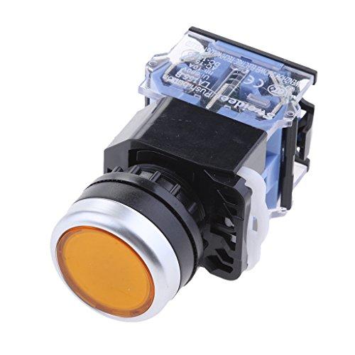 perfk LA38-11 Druckschalter, Tastschalter, Einbauschalter, Druckknopf, Druck Schalter, Drücker - Gelb