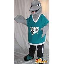 Mascota SpotSound Amazon personalizable que representa una pequeña gris delfín, aqua disfraz