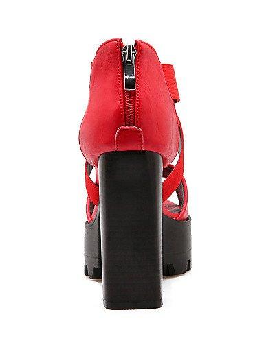 UWSZZ IL Sandali eleganti comfort Scarpe Donna-Sandali-Casual-Tacchi-Quadrato-Finta pelle-Nero / Rosso / Bianco / Grigio Black