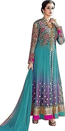 OSLC Women's Net Anarkali Embroidered Net Anarkali Salwar Suit Semi Stitched Salwar Suit with Dupatta (multi)